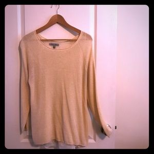 Sweaters - Lightweight cream sweater with slit back, Large